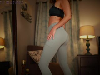 Bratty Bunny – Soft Blue Yoga Pants Tease