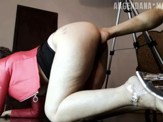 Argen Dana gets Footing from husband and Monster dildo anal
