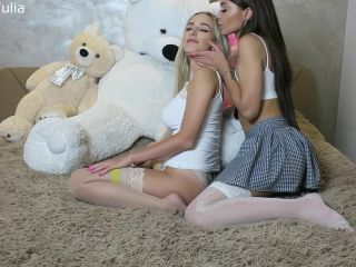 Porn online Happy Yulia, EvaDoll, Princess Juli - Lesbian Students Playing on the Bed PAID