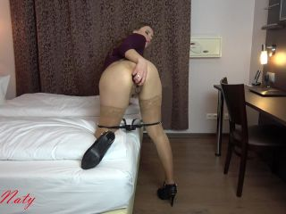 Naty colossal dildo riding and plug insertion anal too