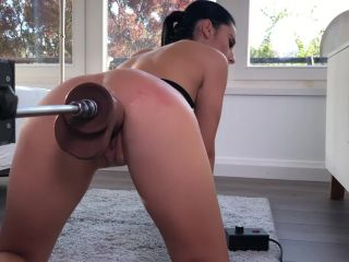 2 Big Black Dildo Cocks and a Fucking Machine Destroying Nelly Kent Pussy -
