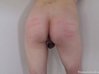 Sissy trans secretary Lily Demure caned, throat fucked and ass nailed
