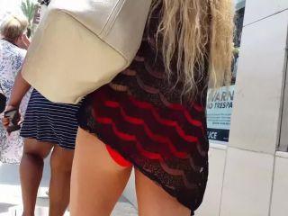 Candid vor blond red bikini tits hot