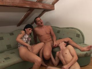 Threesome with bisexual action and hot brunette sucking their cocks
