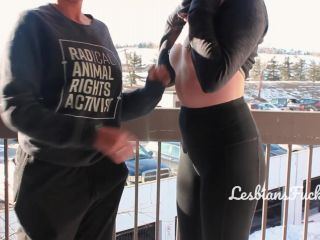 Lesbians Give Neighbors a Show: Risky Public Strapon & Flashing On Balcony