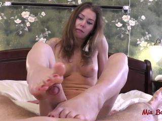 great footjob with red nails makes his cock cum  mia bandini