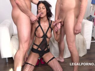 LegalPorno.com - Victoriya Lusconi gets 2on1 Anal and DP with rough sex, manhandle, Facial GL044