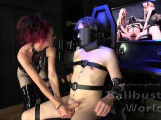 BallbustingWorld – Tiffany – Cruel Tiffany Busts Bound Slave's Balls