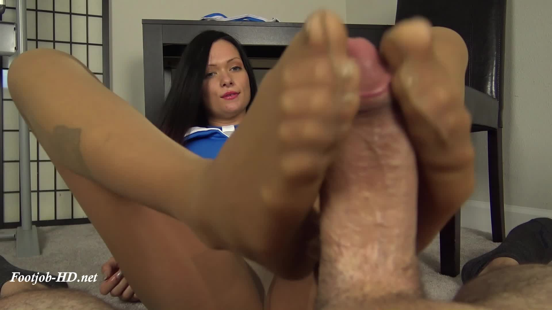 Double Footjob Under Table