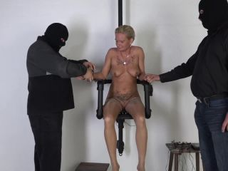 Painful electric punished tits of bound milf