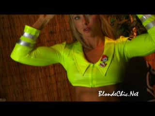 Blondechic flexing in latex firefighter outfit