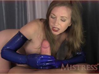 blue rubber glove milking