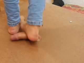 Cock crush in jeans with nylon socks and cumshot