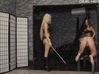 Caning – CRUEL MISTRESSES – Punished by the girls – Mistress Amanda and Mistress Ariel