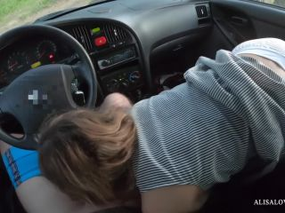Young Teen Couple Outdoor Fucking in Car at Sunset - Public