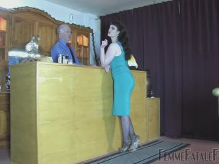 [Femdom 2018] FemmeFataleFilms  Stupid Bar Steward  Part 1. Starring Miss Zoe [Trampling, High Heels, Trample]
