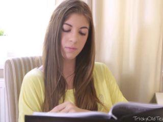 Horny teen student lets her old teacher seduce her during doing homework