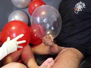 Condom Balloon Handjob with Long Latex Gloves, Cum in and on