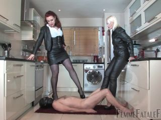Foot Worship – Femme Fatale Films – Cum and Be Cropped – Mistress Heather and Mistress Lady Renee