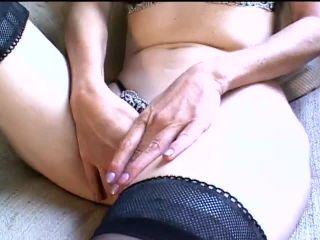 Sexy Milf in Stockings Fingering Herself