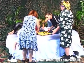 Two grannies gets gangbanged in a group sex session