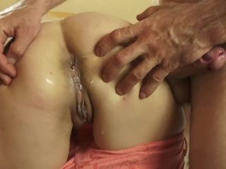 Wife fucks her husband's ass by a strapon and fist