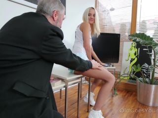 Joleyna Burst – Old man seduces blonde maid into serving his old dick (HD)
