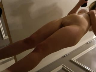 Nice blonde glasses girl touches her pussy in the change room. spy ca ...