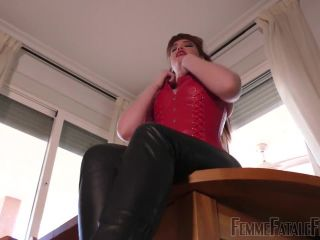 Femme Fatale Films: Foot Slut – Super HD (Part 1) BDSM porn video and captions, neck brace fetish on feet