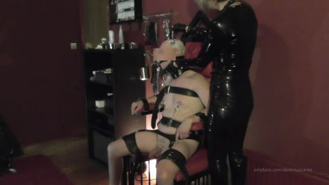 Domina Scarlet starring in video (Shaving My Prisoners Head) [HD 720P]
