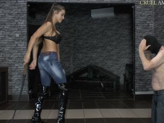 Femdom – CRUEL MISTRESSES – Bullwhipped on the floor – Mistress Ariel