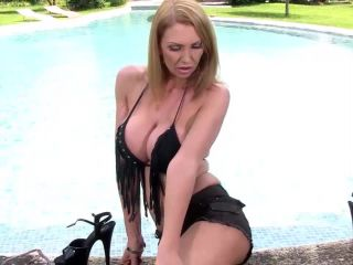 Wet and Wild Busty Milf's Solo Poolside Titty Play