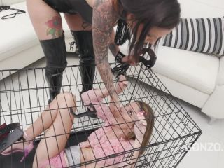 Natasha Ink fisting, dildo and piss domination to Sara Bell