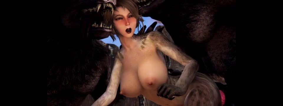 Catgirl Vs Two Werewolves (Lustful Luna)