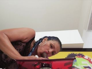 Big booty latina worships and rides big black dildo