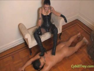 Doormat Slave Under Leather Boots
