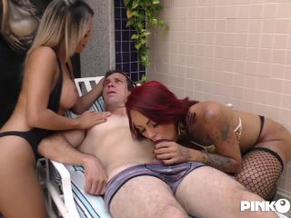 Nicolly Pamtoja & Juliana Leal in The Stallion & The Two Trannies Exchange BJ and Anal Sex