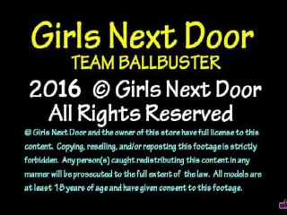 girls next door: team ballbuster  aphrodite the ball trampling goddess  stomping
