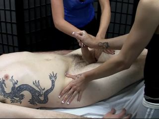 Two hot masses rub guy and stroke cock to empty balls