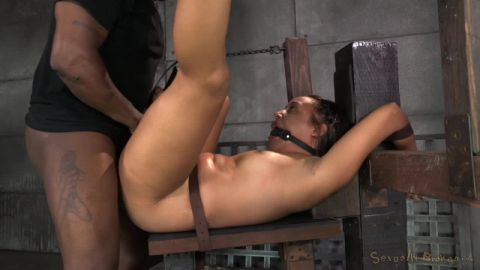 Tinslee Reagan, Matt Williams, Jack Hammer - Little spinner Tinslee Reagan belted down, ballgagged, vibrated and fucked hard by two big c (720p)
