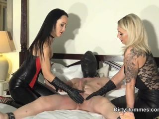 Cumshot – Dirty Dommes – Duo leather gloved milking part 2 – Fetish Liza