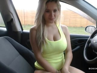Blonde with huge lactating tits public masturbation