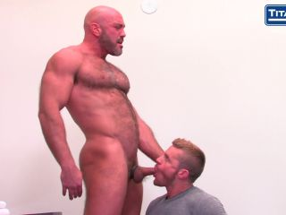 Hairy chested bald daddy gets plowed deep!
