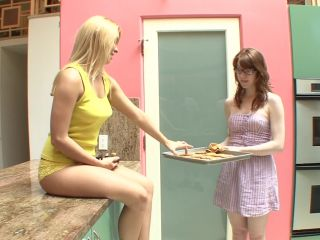 Horny teen lesbian seduces her stepsister in the kitchen