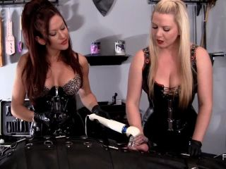 Femdomempire - Deanna Storm, Lexi Sindel - Chastity Cage Ball Draining - kicked on fetish porn
