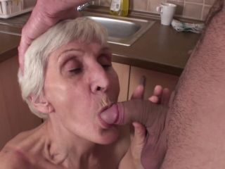 Horny gilf in stockings gets fucked in the kitchen