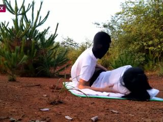 Amar masked chinese couple fuck outdoors
