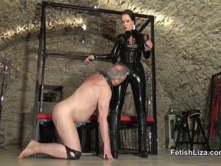 Fetish Liza – Black latex polisher – Spitting – Boots, Rubber on femdom porn latex fetish