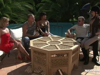 A Group Sex Scene Outdoors with Three Horny Girls and Two Guys