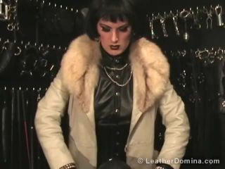 Leather Session Video 456 - Leather Mistress Linda and Leather slave